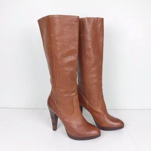 Frye Harlow Campus Knee High Boots Cognac 8.5 M